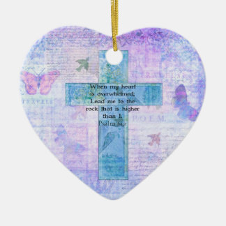 Psalm 61:2 Beautiful Bible verse & Christian art Ceramic Heart Ornament
