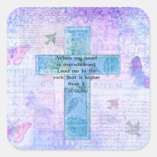 Psalm 61:2 Beautiful Bible verse & Christian art Square Sticker