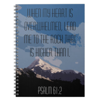 Psalm 61:2 Bible Verse Quote Mountain Graphic Notebooks