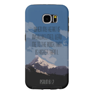 Psalm 61:2 Bible Verse Quote Mountain Graphic Samsung Galaxy S6 Cases
