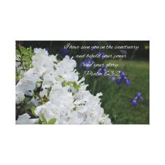 Psalm 63:2 White Azalea Canvas Print