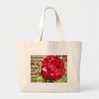 Psalm 63:3 Hot Pink Knock-Out Rose Large Tote Bag
