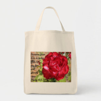 Psalm 63:3 Hot Pink Knock-Out Rose Tote Bag