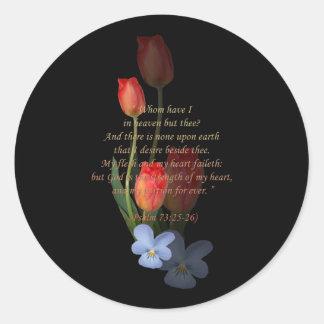 Psalm 73: 25-26 Tulips Round Sticker