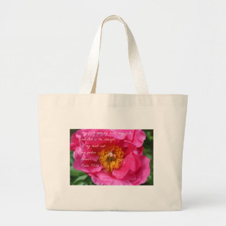 Psalm 73:26 Hot Pink Peony Large Tote Bag