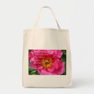 Psalm 73:26 Hot Pink Peony Tote Bag