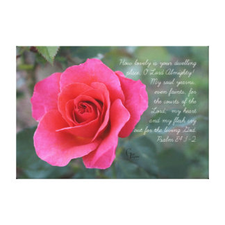 Psalm 84:1-2 Coral Pink Rose Canvas Print