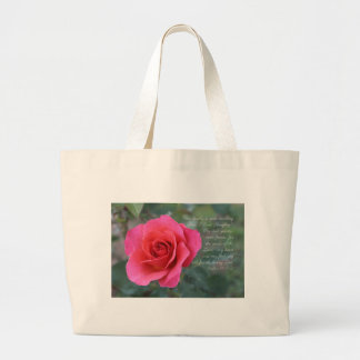 Psalm 84:1-2 Coral Pink Rose Large Tote Bag