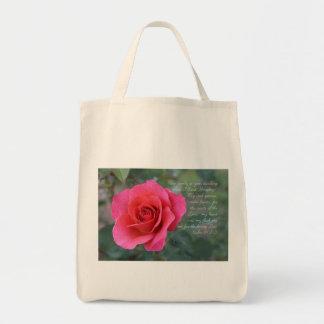 Psalm 84:1-2 Coral Pink Rose Tote Bag