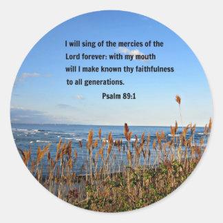 Psalm 89:1 classic round sticker