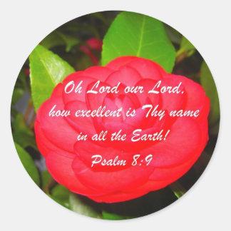 Psalm 8:9 classic round sticker
