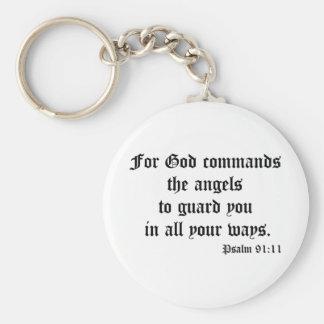 Psalm 91:11 keychain