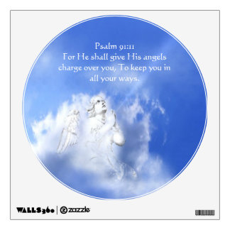 Psalm 91:11 Scripture Angel Watch over You Wall Sticker