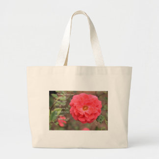 Psalm 91:14 Peachy Pink Rose Large Tote Bag