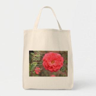 Psalm 91:14 Peachy Pink Rose Tote Bag