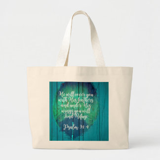 Psalm 91:4 verse on rustic background with feather large tote bag