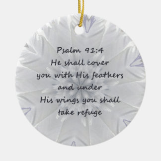 Psalm 91:4 Wings God's protection Inspirational Ceramic Ornament