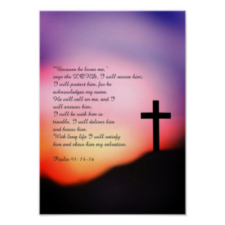 Psalm 91 black cross on the hill and sunset poster