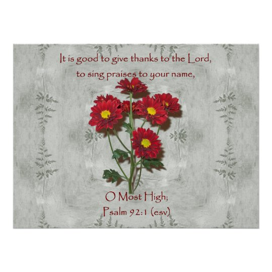 Psalm 92:1 ~ Give Thanks to the Lord Poster