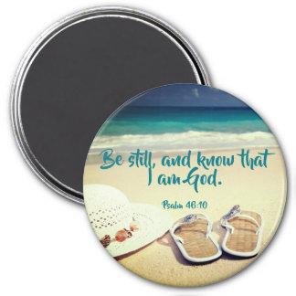 Psalm   Be Still - Large Round Refrigerator Magnet