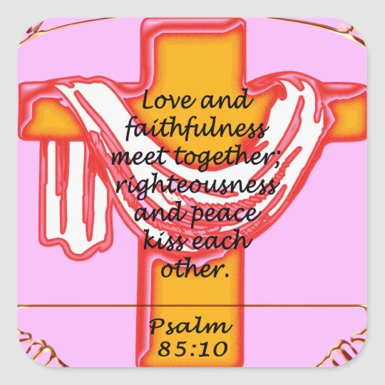 Psalm cross design square sticker
