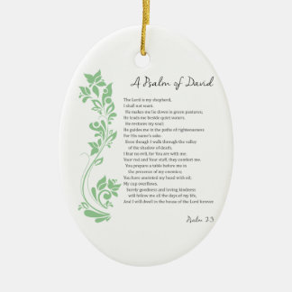Psalm of David The Lord is my Shepherd Bible Verse Ceramic Oval Ornament