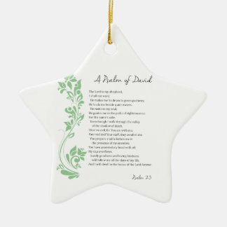 Psalm of David The Lord is my Shepherd Bible Verse Ceramic Star Ornament