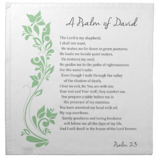 Psalm of David The Lord is my Shepherd Bible Verse Napkin