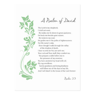 Psalm of David The Lord is my Shepherd Bible Verse Postcard