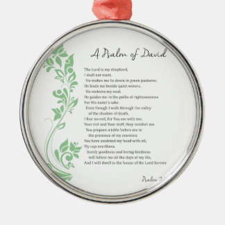 Psalm of David The Lord is my Shepherd Bible Verse Silver-Colored Round Ornament