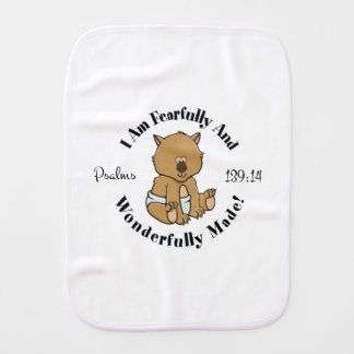 Psalms 139:14 Design (Wombat) Burp Cloth