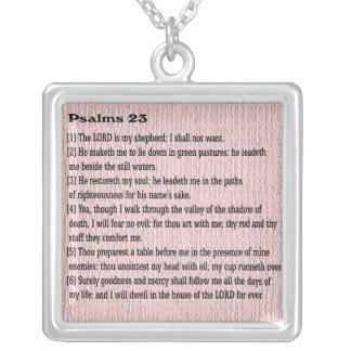 Psalms 23 silver plated necklace