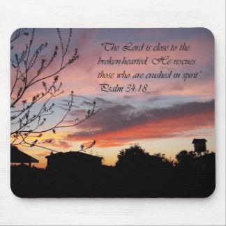 Psalms 24:18 Sunset Encouragement Mouse Pad