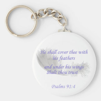Psalms 91:4 He shall cover thee with his feathers Basic Round Button Keychain
