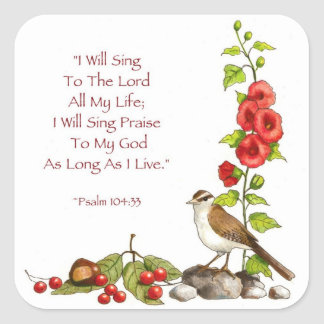 Psalms: Bible: Color Pencil Drawing: Birds, Praise Square Sticker