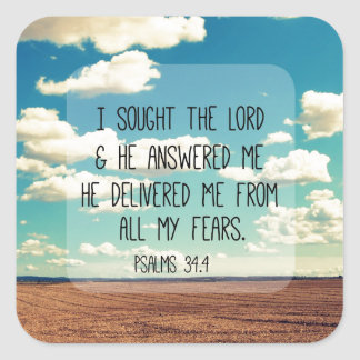 Psalms Bible Verse Square Sticker