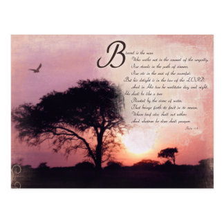 Psalms Encouragement Inspirational Bible Verse Postcard