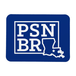 PSN BR White on Blue State Magnet