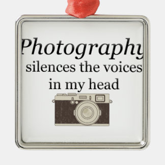 pstvimhPhotography silences the voices in my head Metal Ornament
