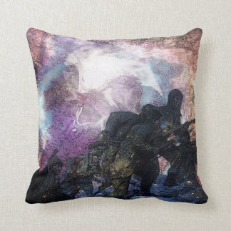 Psyсhedеlic Abstract Marching Soldiers Throw Pillow