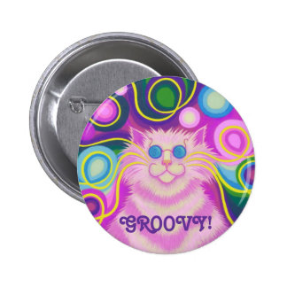 Psy-cat-delic Pink Groovy!' button badge