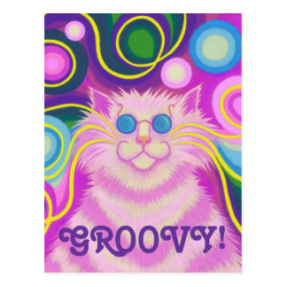Psy-cat-delic Pink 'Groovy' postcard vertical