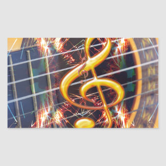 Psychadelic Accoustic Guitar, music sheet design Sticker