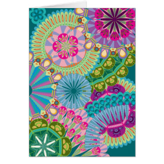 psychadelic feather flowers card