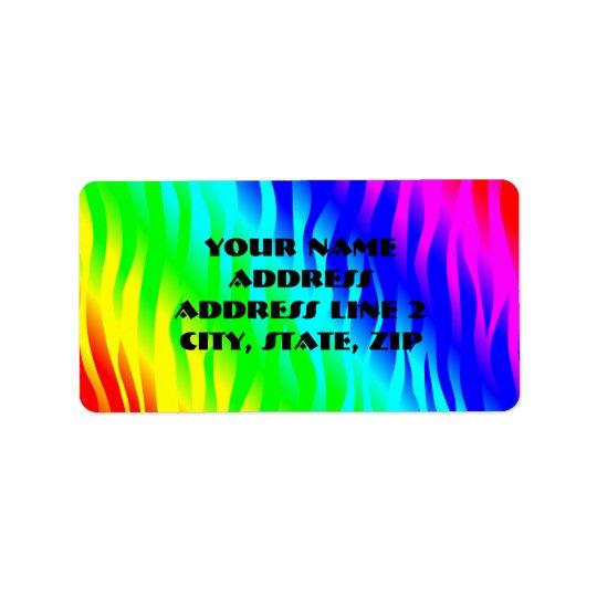 Psychadelic flaming rainbow colours label