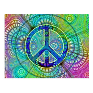 Psychadelic Peace Sign Postcard