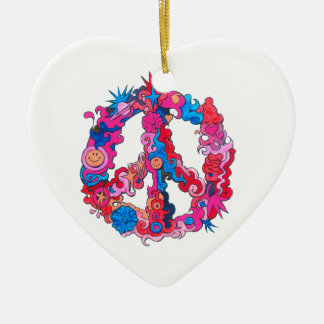 Psychdeclic Peace Symbol Ceramic Heart Ornament