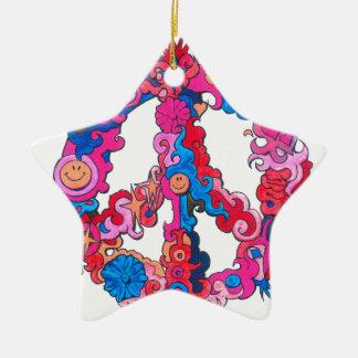 Psychdeclic Peace Symbol Ceramic Star Ornament