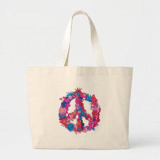 Psychdeclic Peace Symbol Large Tote Bag