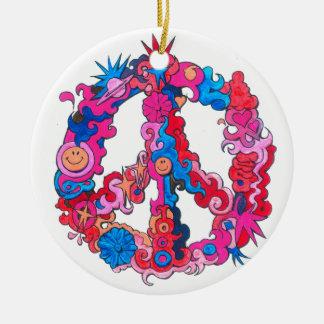 Psychdeclic Peace Symbol Round Ceramic Ornament